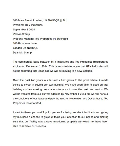 lease for commercial property template commercial lease termination letter to landlord sle