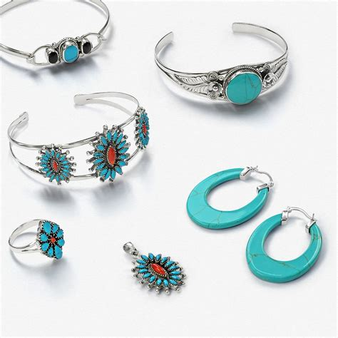 925 Silver Leaf Flower Simulated Turquoise Cuff Bracelet