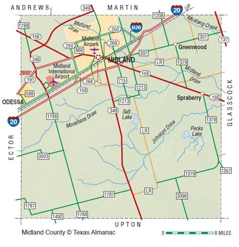 texas map midland midland county the handbook of texas texas state historical association tsha
