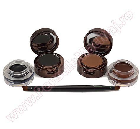 Eyebrow Eyeliner 2 set 2 in 1 eyeliner gel eyebrow black brown 1 pensula dubla