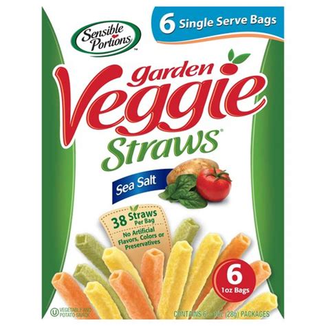 garden vegetable chips sensible portions sea salt garden veggie straws 1 oz 6