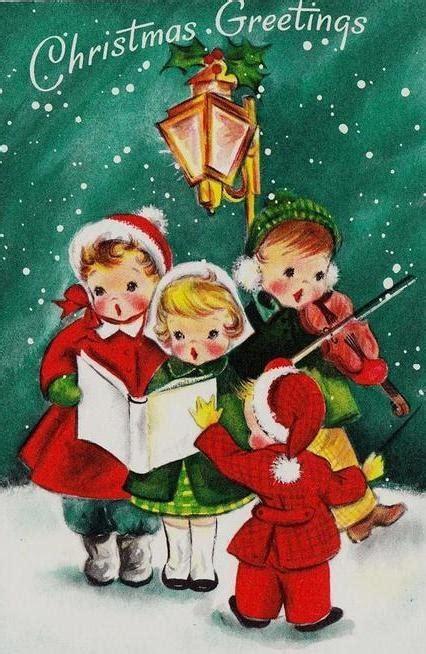 vintage little children carolers singing by l post