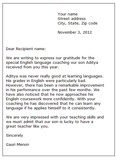 Thank You Letter To Esl Sle Thank You Letter Formal Letter Sles