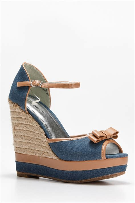 bow front denim wedge cicihot wedges shoes store wedge