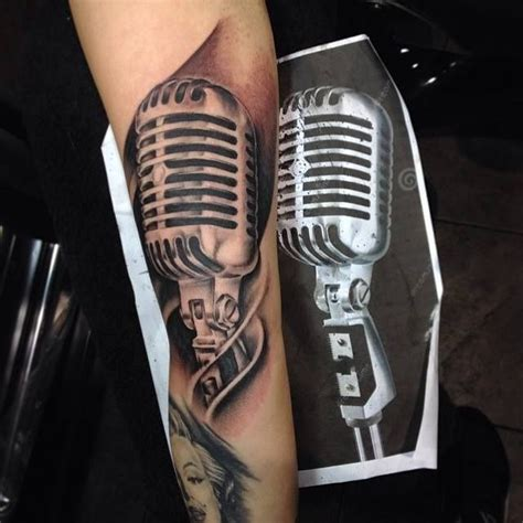 music microphone tattoos tattoo blackandgrey