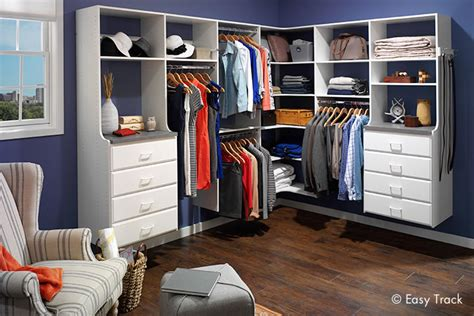 closet organizers custom closet systems by easy track