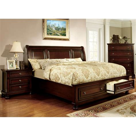 dark cherry bedroom furniture furniture of america caiden 3 piece king bedroom set in