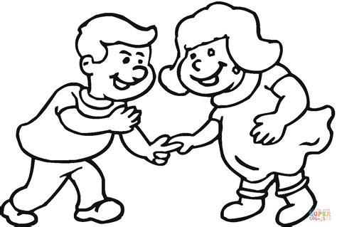 coloring page shaking hands dibujo de ni 241 os peque 241 os ri 233 ndose juntos para colorear