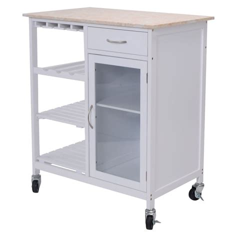 New Style Kitchen Rolling Cart Faux Marble Top Island Rolling Cart For Kitchen