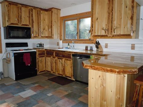 rustic custom cedar wood kitchen cabinets tall kitchen