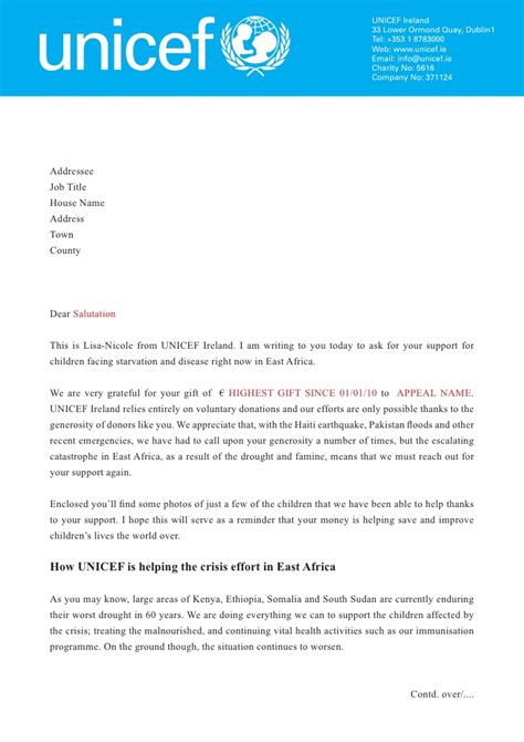 cover letter exles for charity unicef east africa letter