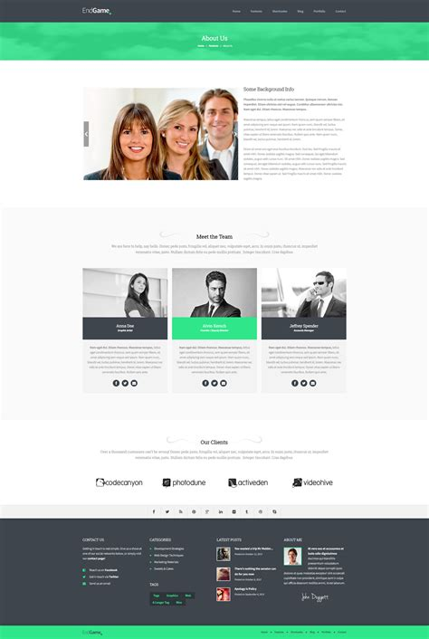 Endgame Responsive Retina Ready Html Template By Subatomicthemes About Page Template