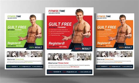 fitness flyer template flyer templates creative market