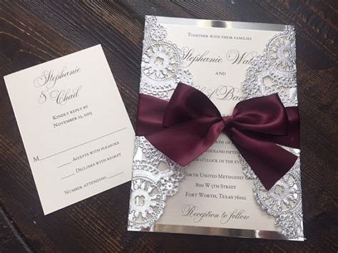 Wedding Invitations Using Doilies by Sle Metallic Doilies Wedding Invitation Suite With Ribbon