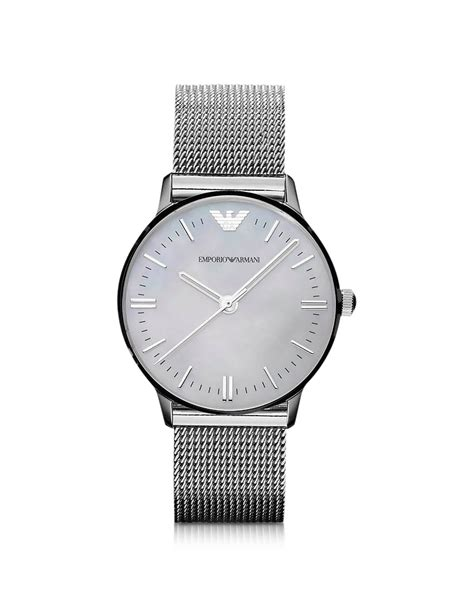 Emporio armani Classic Mesh Band Motherofpearl Dial Watch in Metallic   Lyst