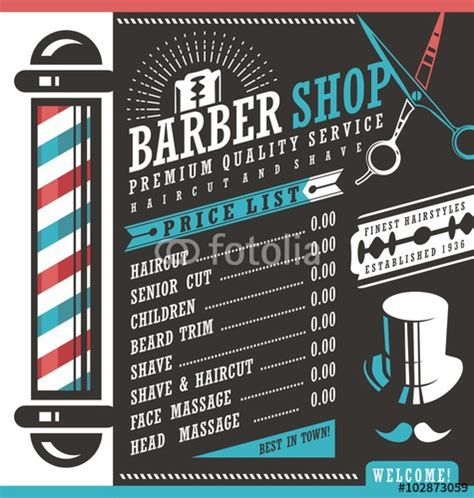 Quot Barber Shop Vector Price List Template Quot Stock Image And Royalty Free Vector Files On Fotolia Free Barber Shop Website Template