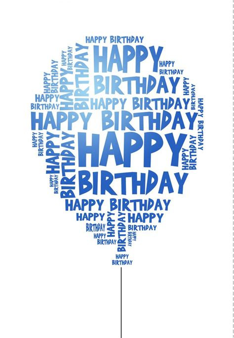 Happy Birthday Card For Him Blue Birthday Balloon Happy Sons And My Friend