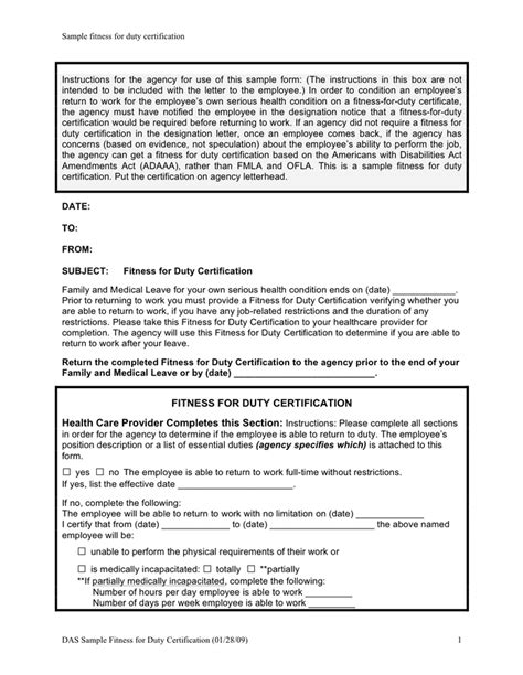 Fitness For Duty Letter To Employee