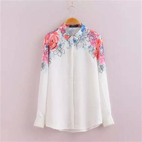 Blouse Next 1 aliexpress buy painted floral print chiffon white blouse sleeve turn collar
