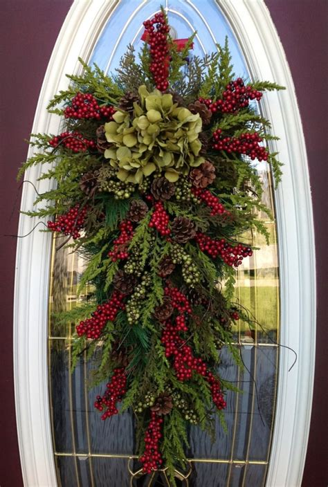 christmas swags for doors gorgeous wreath winter wreath vertical teardrop swag door decor quot seasons