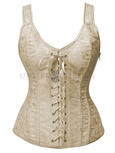 vintage white brocade lace up boned corset overbust bustier tops s brocade overbust corset vest with lace