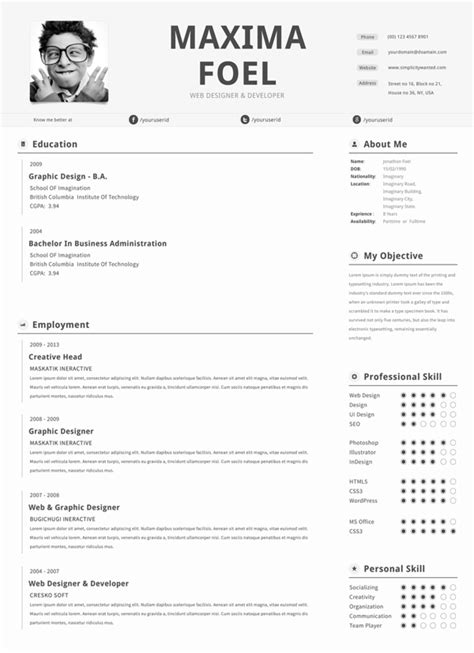 top free resume templates 25 best free professional cv resume templates 2014