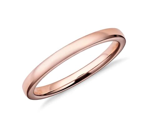 rose gold low dome comfort fit wedding ring in 14k rose gold 2mm