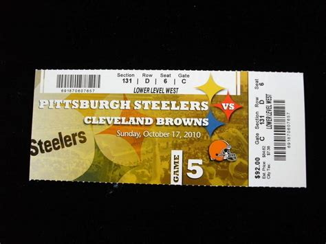 pittsburgh steelers ticket vs cleveland browns 10 17 10