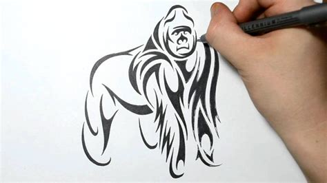 gorilla tattoo tribal drawing a gorilla tribal design style