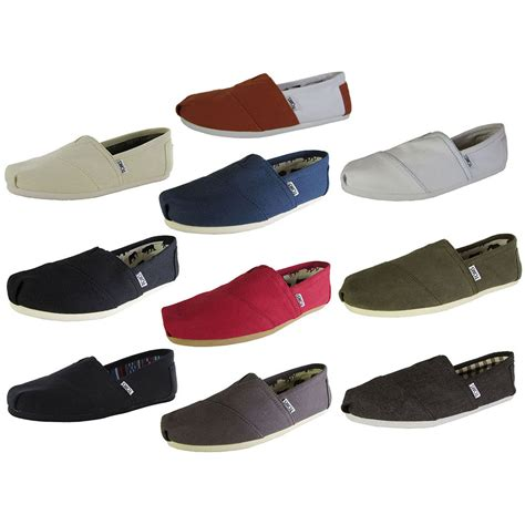 Toms Shoes Canvas With Box toms mens classic canvas slip on casual loafer shoe ebay