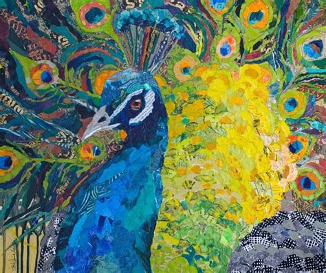Painting 200x80cm 2 Peacock paper paintings peacocks completed