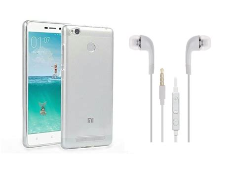 Sold Xiaomi Redmi 3s Second xiaomi redmi 3s prime back cover transparent and 3 5mm premium earphones white by