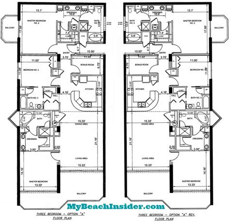 3 bedroom unit floor plans boardwalk beach resort floor plans panama city beach florida