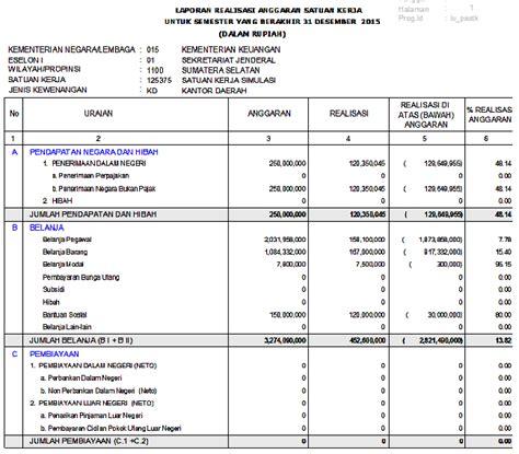 format laporan realisasi anggaran pemerintah daerah aplikasi saiba menelusuri akuntansi realisasi pada satuan