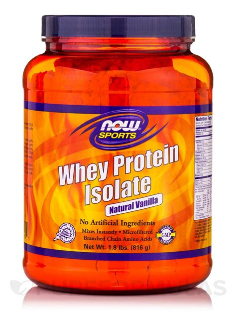 Now Whey Protein Isolate now 174 sports whey protein isolate vanilla 1 8 lbs 816