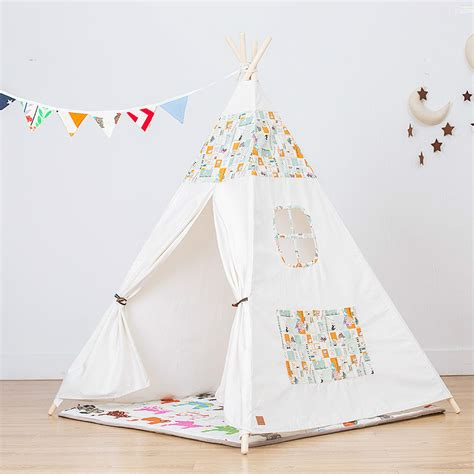 Teepee Tent Pesanan Customer soft foldable print 4 poles teepee tents teepees for children tipi playhouse indian