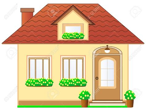 cartoon house pictures 13913443 isolated house with dormer and flower pot stock
