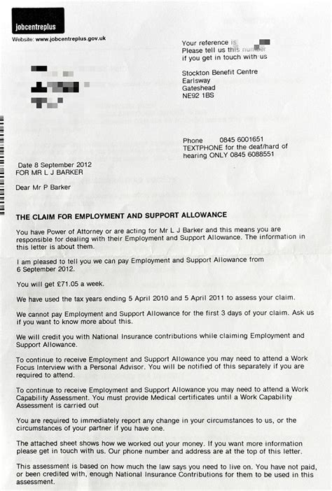 National Insurance Letter A paralysed on support since birth told to