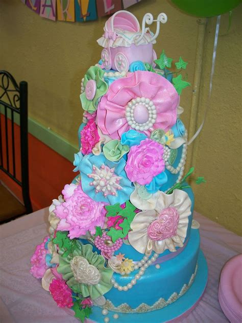 shabby chic baby shower cakes shabby chic baby shower cake cakecentral