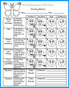 elementary rubric template butterfly book report projects templates worksheets