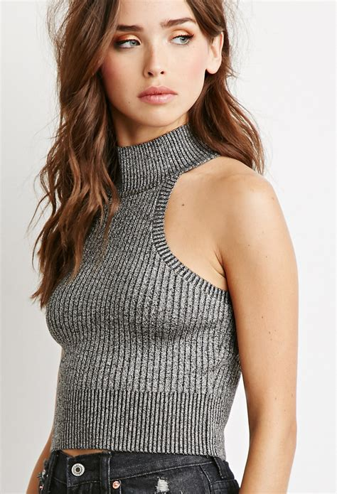 knit tops forever 21 mock neck rib knit top in gray lyst