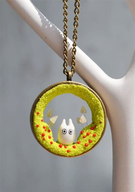 miniature totoro necklace cute totoro pendant handmade