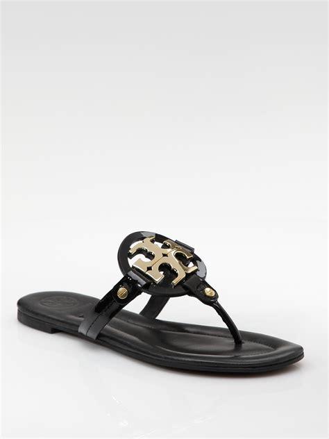 black burch sandals lyst burch patent leather flat sandals in black
