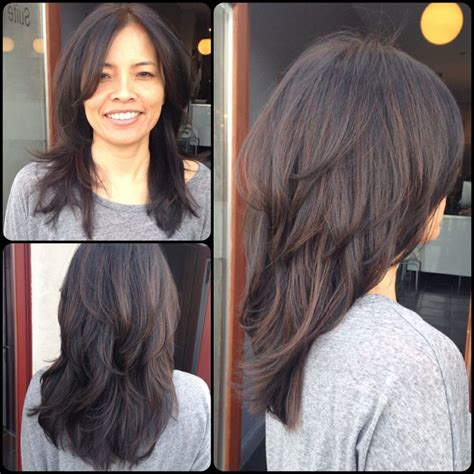 hair with layers on crown dark hair caramel highlight layers throughout with long