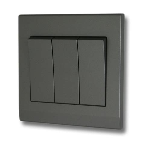 modern electrical switches this is a 3 gang mid grey 2 way switch on a high quality