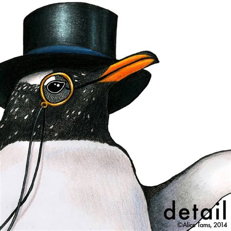 Pinguin Top penguin in a top hat print by birds in hats