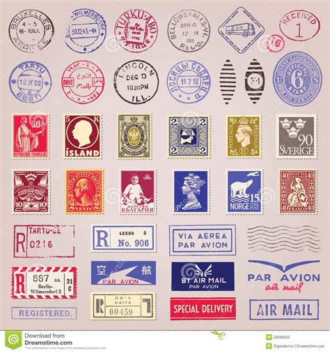 printable airmail stickers vintage postage sts marks and stickers stock vector