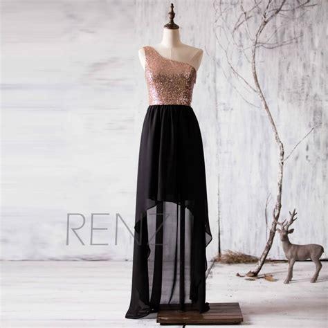 Hq 18477 Low Shoulder Evening Dress 2016 black bridesmaid dress gold sequin wedding dress one shoulder prom dress high low