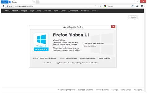 themes firefox 43 firefox ribbon ui version without titlebar v 1 2 1 by