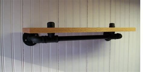24 black pipe iron and wood shelf with hang bar